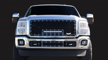 2011-2015 Ford Super Duty Machined Brute Super Duty Grille With 18 Inch LED Light Bar