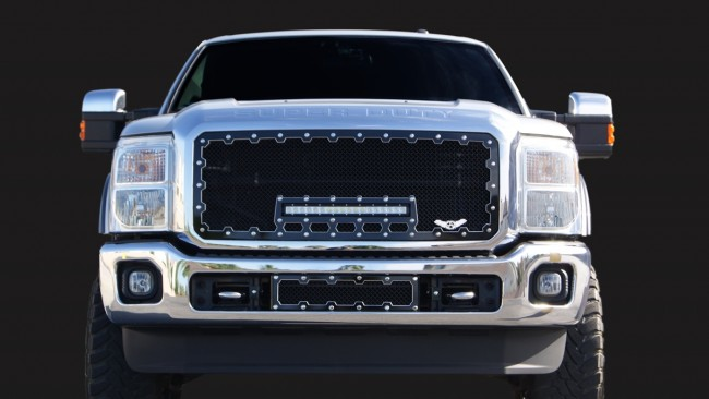 Ablaze Grilles 2011 2016 Ford Super Duty Brute Machined Super Duty Grille With 18 Inch Led Light Bar